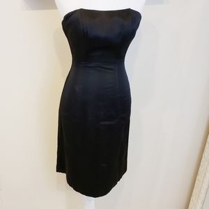 Banana Republic Strapless Black Satin Dress